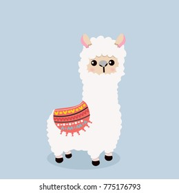 Cute alpaca  fluffy vector