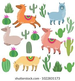Cute alpaca lamas. Wildlife vector llama characters. Wildlife alpaca and green cactus illustration