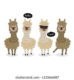 Cute alpaca vector. Animal wildlife cartoon character.