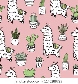 Cute alpaca vector print. Seamless pattern