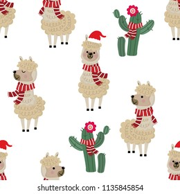 Cute alpaca wear Christmas costume and cactus seamless pattern. Animal in holiday cartoon character background.