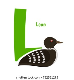 Cute Alphabet Letter with Birds. Loon - L. Learn to read, education for children.