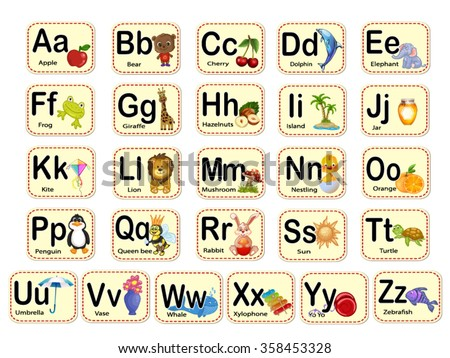 Cute Alphabet Letters Words Stock Vector Royalty Free 358453328