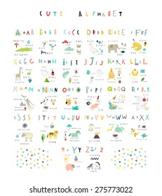 Cute alphabet. Letters and words. Flora, fauna, animals. Learn to read. Isolated.