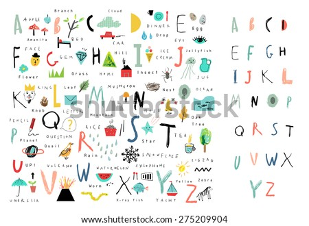 Cute Alphabet Letters Words Learn Read Stock Vector Royalty Free