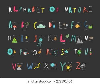 Cute alphabet of Nature. Letters, natural events, flora and fauna. Learn to read. Isolated.