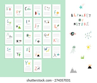 Cute alphabet of Nature. Letters, natural events, flora and fauna. Vocabulary cards. Learn to read. Isolated.