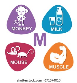 Cute alphabet in vector. M letter for monkey, milk, mouse and muscle. Alphabet design in a colorful style