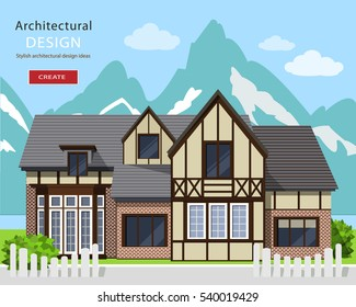 Cute alpine chalet facade. Graphic private house with Mountains background. Flat style vector illustration.