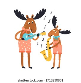 Cute amusing elk family playing musical instruments. Moose father and child with guitar and saxophone isolated on white background. Animal with baby, cub. Vector illustration in flat cartoon style