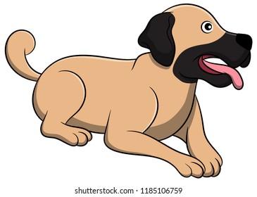 Cute Anatolian Shepherd Cartoon Dog. Vector illustration of purebred anatolian shepherd dog.