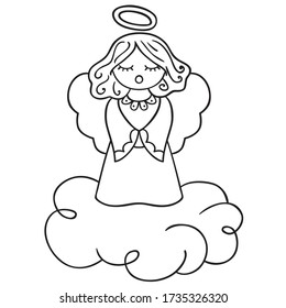Cute Angel black outline freehand drawing, singing angel on cloud with hollow, closed eyes girl sketch