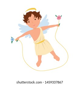 Cute angel boy in white clothes jump in jump rope