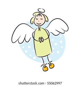 Cute angel. Cartoon vector illustration