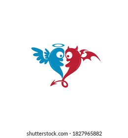 Cute angel and devil hearts. Love concept icons. Logo vector illustration. Art of fantasy monster