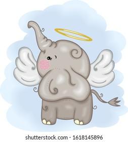 Cute angel elephant with wings flying in blue sky