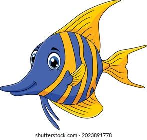 Cute Angel Fish aquatic animal vector cartoon illustration
