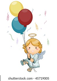 Cute Angel holding balloons - Vector