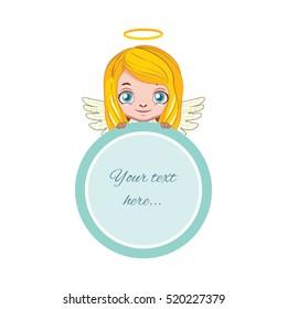 Cute angel holding a circular frame