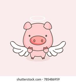 cute angel pig cartoon.