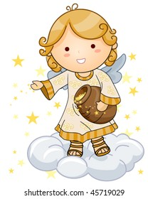 Cute Angel sprinkling Stars - Vector