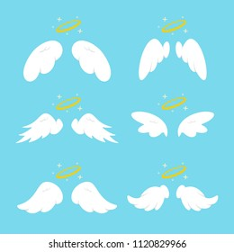 Cute angel wings with halo. Vector cartoon flat icons set isolated on blue background.