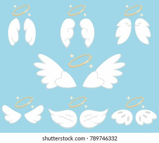 Cute angel wings with nimbus. Cartoon vector icons set isolated on blue background.
