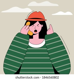 Cute angry girl talking on the phone. Mood expression. Vector illustration in trendy flat linear style.