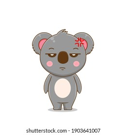 Cute angry koala. Vector illustration of chibi character isolated on white background.