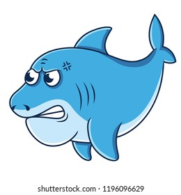 Cute angry shark cartoon