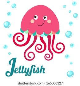 Cute animal alphabet. J letter. Cute cartoon Jellyfish. Alphabet design in a colorful style.