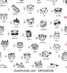 Cute Animal Alphabet Seamless Pattern. Cartoon Funny Baby Animals Faces and Doodle Latin Letters and Names. Childish Vector ABC Background