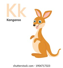 Cute Animal Alphabet Series A-Z. Vector ABC. Letter Kk. Kangaroo. Cartoon animals alphabet for kids. Isolated vector icons illustration. Education, baby showerchildren prints, decor, cards, books