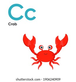 Cute Animal Alphabet Series A-Z. Vector ABC. Letter C. Crab. Cartoon ocean animals alphabet for kids. Isolated vector icons illustration. Education, baby shower children prints, decor, cards, books