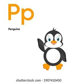 Cute Animal Alphabet Series A-Z. Vector ABC. Letter Pp.Penguine. Cartoon ocean animals alphabet for kids. Isolated vector icons illustration. Education, baby shower children prints, decor, cards, book