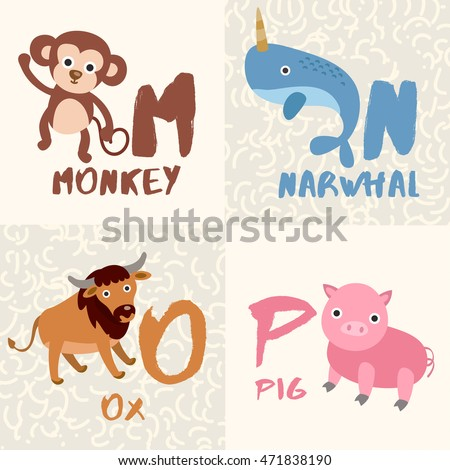 Image of: Cartoon Animals Cute Animal Alphabet Set Letter Mnop Vector Illustration Vector Shutterstock Cute Animal Alphabet Set Letter Mnop Stock Vector royalty Free