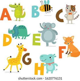 Cute animal alphabet. vector set