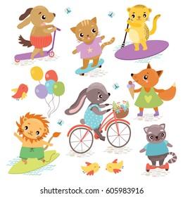 Cute animal athletes. Sports Equipment. Summer walk. Cat, hare, dog, raccoon, leopard, lion, fox. Cycling, Skateboarding, Surfing, roller skates, segway