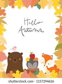 Cute animal autumn card vector illustration. Hello autumn.