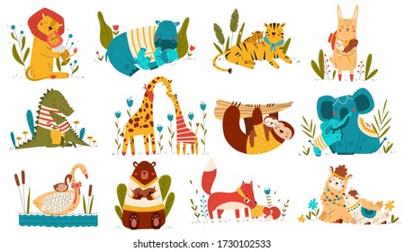 Cute animal baby and mom, parents love child cartoon character, set isolated on white, vector illustration. Collection of family stickers, happy mother and father with cub, zoo animals cuddling hugs