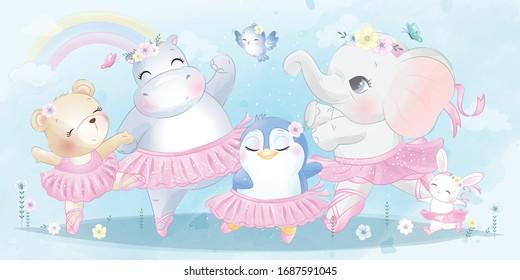 Cute animal ballet dancing with watercolor effect