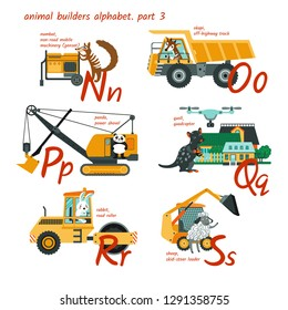 Cute animal builders alphabet in vector. N, o, p, q, r, s letters. Numbat, okapi, off-highway truck, panda, power shovel, quoll, quadcopter, road roller, rabbit, sheep, skid-steer loader.