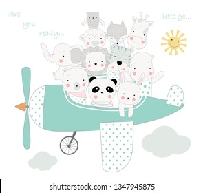 The cute animal cartoon with the plane to travel on holiday. cartoon sketch animal style