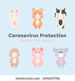 Cute animal character wearing medical mask on sky blue background. Coronavirus (COVID-19) Vector Illustration. Vector illustration for prevention the spread of bacteria,coronviruses