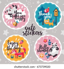Cute animal child stickers with Panda, cat, bird, fox, plant, bee, cloud, flower, tree, smile, kid