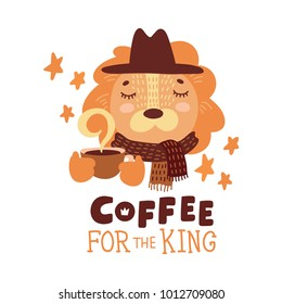 Cute animal with coffee mug vector colorful illustration. Lovely lion in hat and scarf with hot drink cup. Sweet cartoon character with hand drawn lettering for stickers and prints