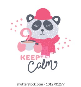 Cute animal with coffee mug vector colorful illustration. Lovely panda bear in hat and scarf with hot drink cup. Sweet cartoon character with hand drawn lettering for stickers and prints