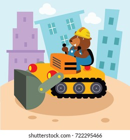 A cute animal in the construction world. Industrial cartoon animal series for kid.