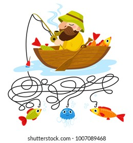 Cute animal educational maze game. Vector illustration of maze(labyrinth) educational game with cute cartoon fisherman and fishs for children