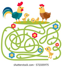 Cute animal educational maze game. Vector illustration of maze(labyrinth) educational game with cute cartoon rooster, hen and chicken for children
